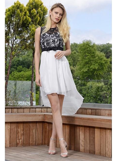 İroni Fiyonk Kemerli Abiye Elbise Beyaz